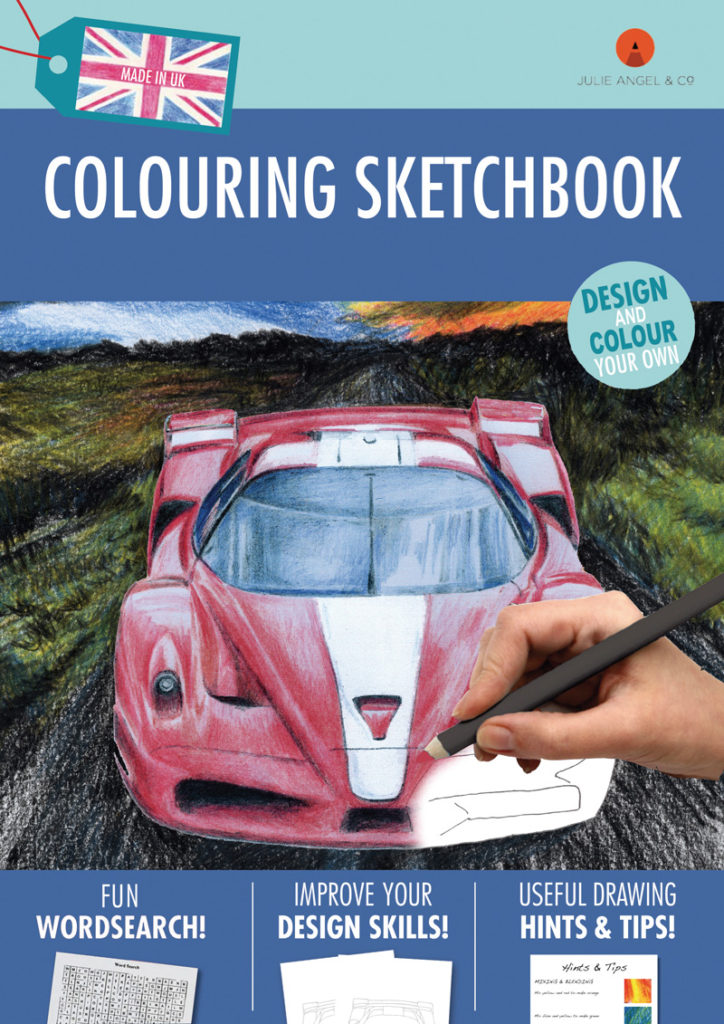 Colouring Sketchbook Red by Julie Angel contains beautiful colour pencil drawing and outlines to colour-in.