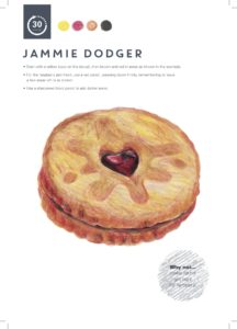 Jammie Dodger colour pencil drawing