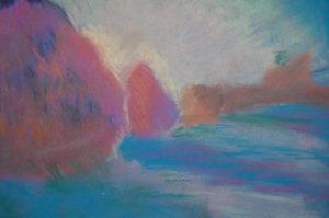 Yr 8 Chalk Monet on blue sugar paper