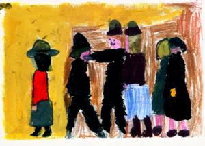 Sketchbook example A Fight 1935 by LS Lowry and Yr 4 Pupils