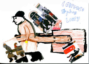 Sketchbook example Man pulling a cart 1963 by LS Lowry and Yr 4 Pupils