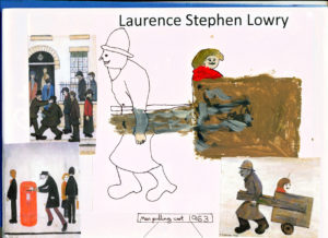 Man pulling a cart 1963 by LS Lowry and Yr 4 Pupils