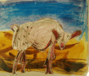 Yr3 Step-by-step pig collaged onto watercolour background