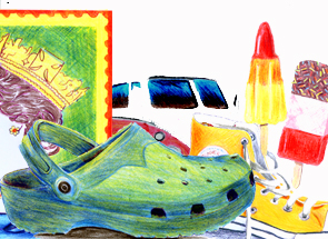 Everyday objects using colour pencils